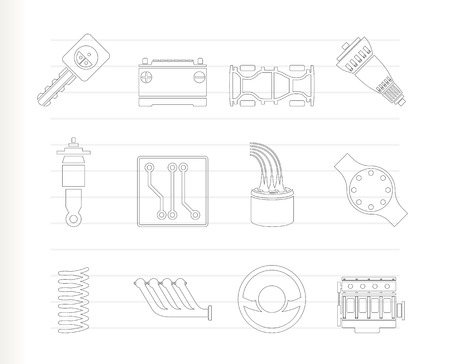 spare part: Realistic Car Parts and Services icons - Icon Set  Illustration