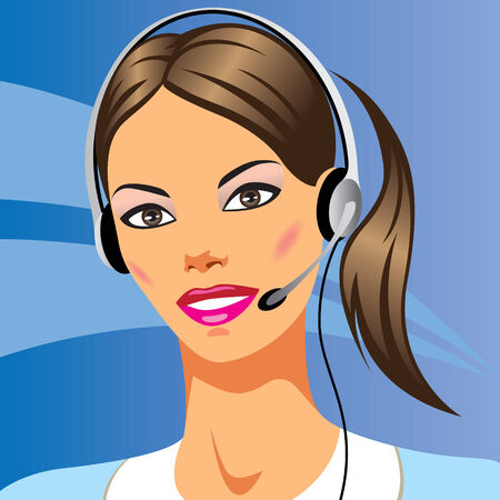headset symbol: beautiful young woman with headphones - illustration