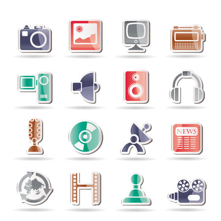 Media and household  equipment icons - icon set Stock Vector - 8130916