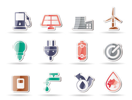 energy buttons: Ecology, power and energy icons - icon set