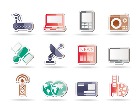 satellite transmitter: Business, technology  communications icons - icon set