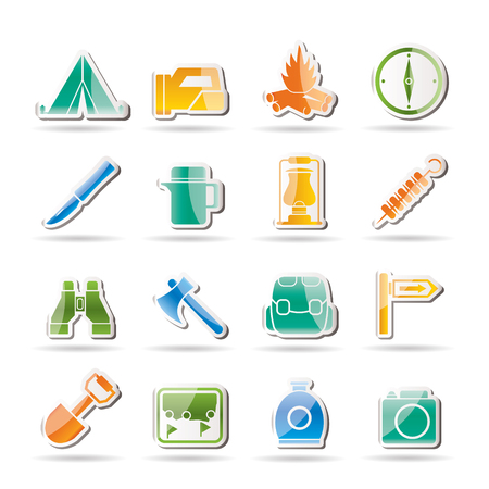 camping site: tourism and hiking icons - icon set