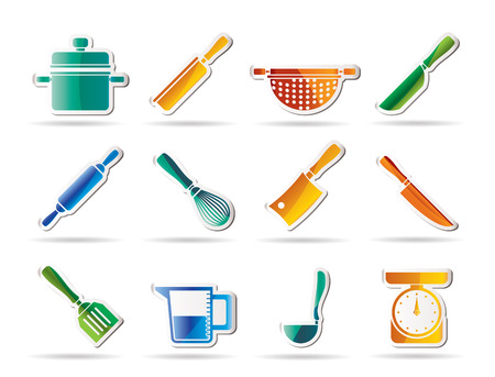 Cooking equipment and tools icons - icon set