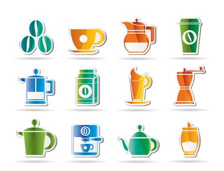 coffee industry signs and icons - icon set Illustration