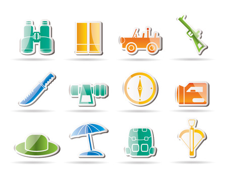 farsighted: safari, hunting and holiday icons - icon set