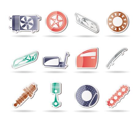 예비의: 현실적인 자동차 부품 및 서비스 아이콘 - 아이콘 설정 1 일러스트