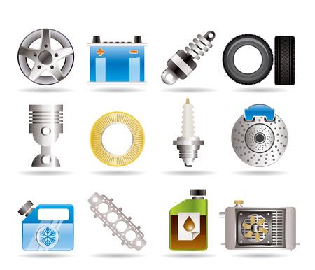 Iconos realistas de piezas de automóviles y servicios  Ilustración de vector