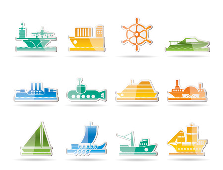 trawler: different types of boat and ship icons - icon set