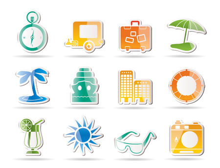 Travel, Holiday and Trip Icons   Vector
