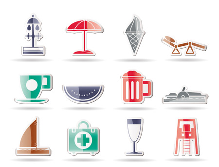 watermelon boat: beach and holiday icons  Illustration