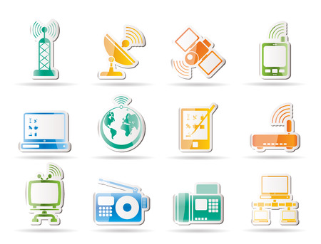 tv remote: communication and technology icons