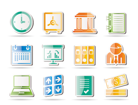 Business, finance and office icons Stock Vector - 8195863