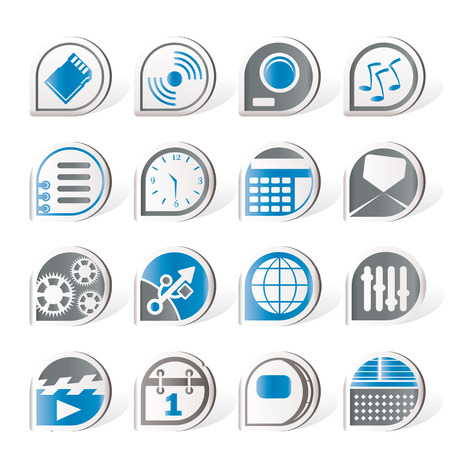 Simple phone performance, internet and office icons   Vector