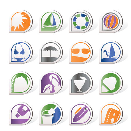 Simple Summer and Holiday Icons   Vector