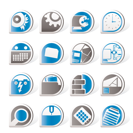 Computer, mobile phone and Internet icons  Vector