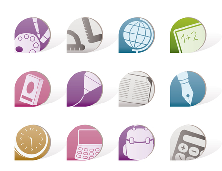 School and education icons Stock Vector - 8195820