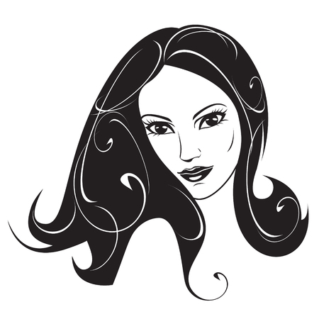 head and shoulders: Abstract woman black and white portrait -   illustration Illustration