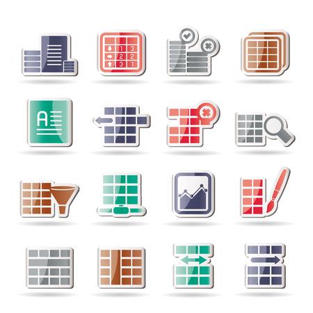 Iconos de base de datos y el formato de tabla