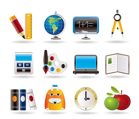 apple computers: School and education icons Illustration
