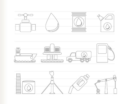 fuel tanker: oil and petrol industry objects icons  Illustration
