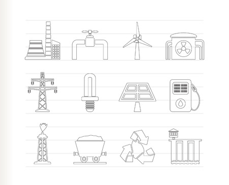 hydroelectric: Power and electricity industry icons Illustration