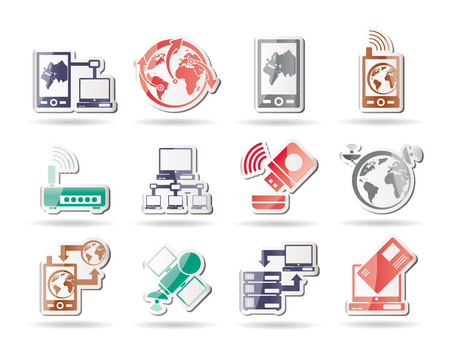communication, computer and mobile phone icons  Stock Vector - 8278491