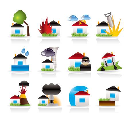 atracador: iconos de seguro y el riesgo de hogar y casas