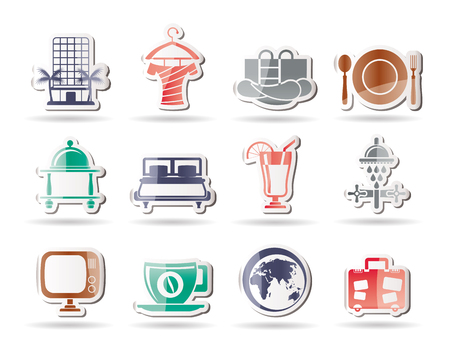 Hotel, motel and holidays icons Stock Vector - 8278507