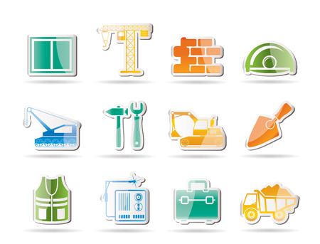 menu button: building, construction, icon, set, tool, industry, business, menu, button, web, site, window, glass, design, glossy, crane, wall, wall, real, estate, helmet, excavator, chain, machine, hammer, wrench, spanner, bagger, excavator, trowel, dig, retro Illustration