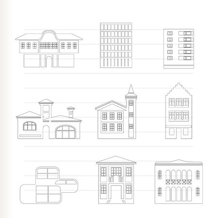 different kind of houses and buildings Stock Vector - 8278497