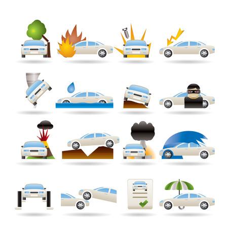car theft: iconos de riesgo y seguro de coche y transporte