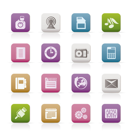 Phone Performance, Business and Office Icons  Vector