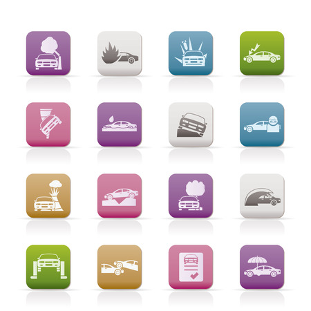car and transportation insurance and risk icons Stock Vector - 8278501