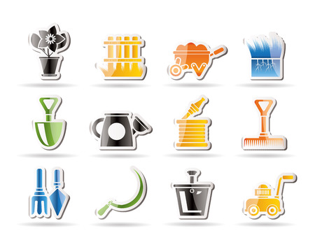 Garden and gardening tools icons Stock Vector - 8372319