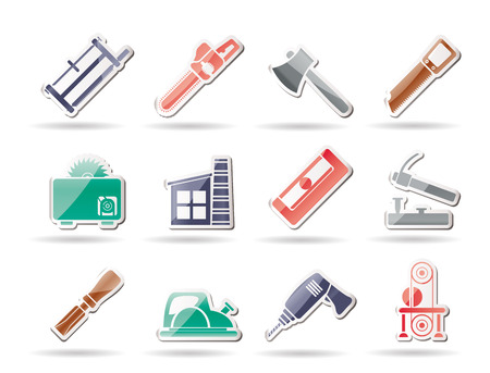 impact tool: Woodworking industry and Woodworking tools icons  Illustration