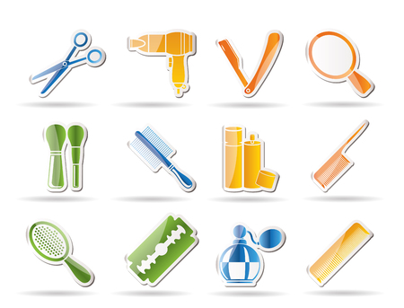 cosmetic, make up and hairdressing icons Stock Vector - 8372318