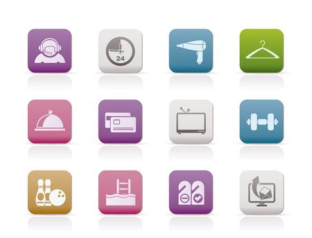 gym room: conjunto de iconos iconos de las comodidades de hotel y motel