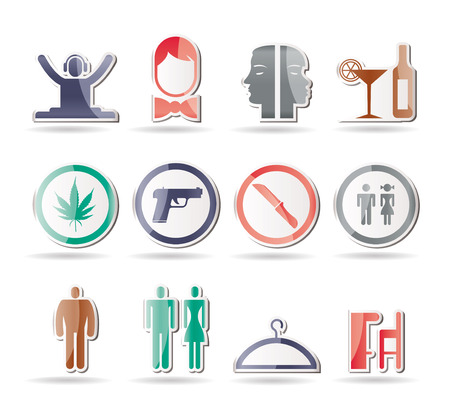 bodyguard: bar and night club icons - icon set