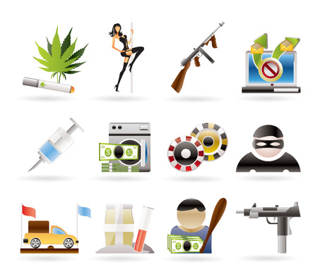 laundering: mafia and organized criminality activity icons - icon set