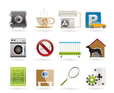 hotel and motel amenity icons icon set Vector
