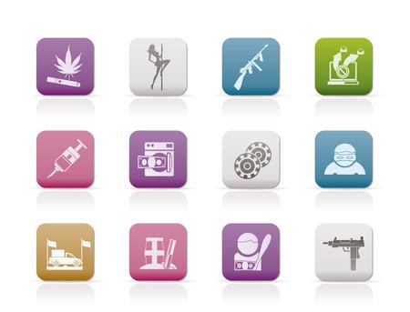 criminality: mafia and organized criminality activity icons - vector icon set Illustration