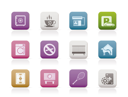 hotel and motel amenity icons - vector icon set Vector
