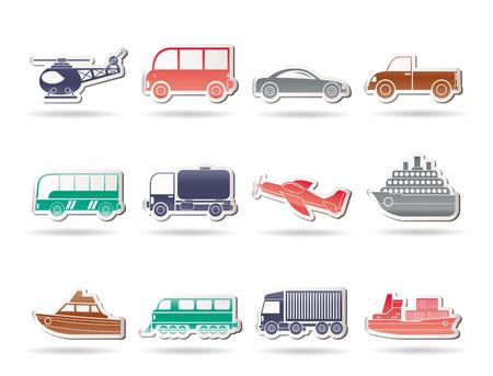 motorbus: Iconos de viajes y transporte - conjunto de iconos de vector Vectores