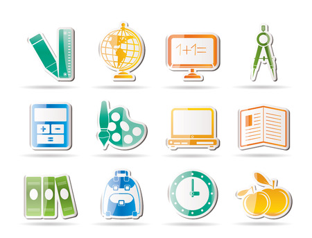 School and education icons - vector icon set Stock Vector - 8446391