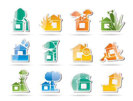 home and house insurance and risk icons - vector icon set Vector