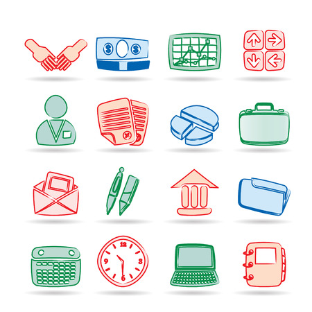 Simple Business and office icons - Vector Icon Set Stock Vector - 8446396