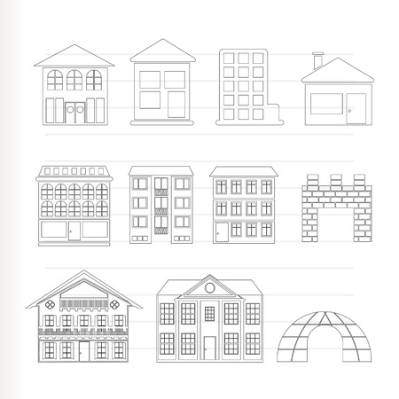 different kinds of houses and buildings - Vector Illustration Vector