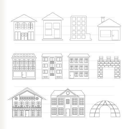 verschillende soorten huizen en gebouwen - Vector illustratie