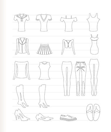 Frau und Frau Kleidung Icons - Vector Icon set Vektorgrafik