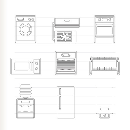 climatic: Home electronics and equipment icons - vector icon set Illustration